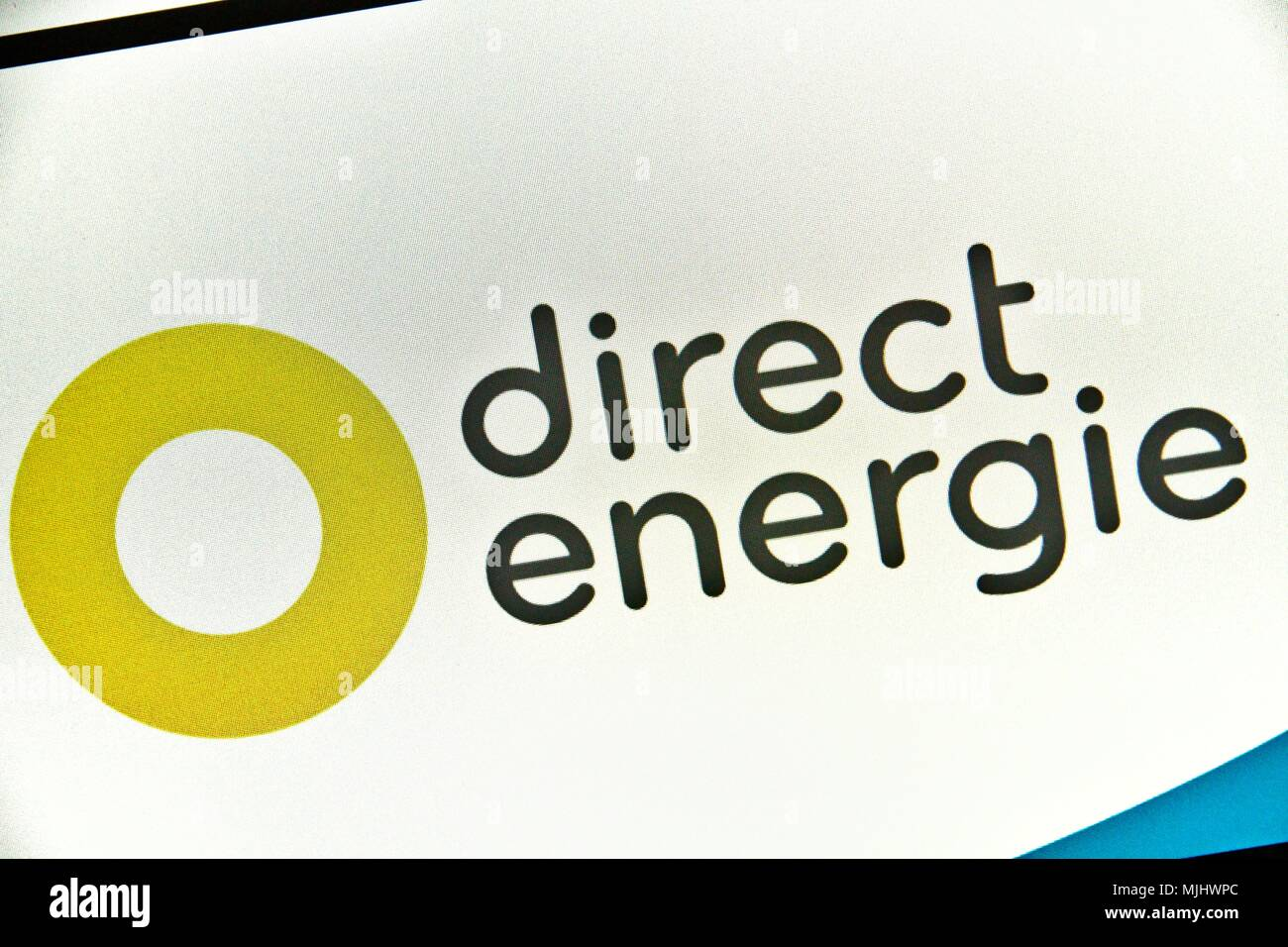 Website of Direct Energie, supplier and private French producer of electricity and gas present on the French market since 2003. Stock Photo