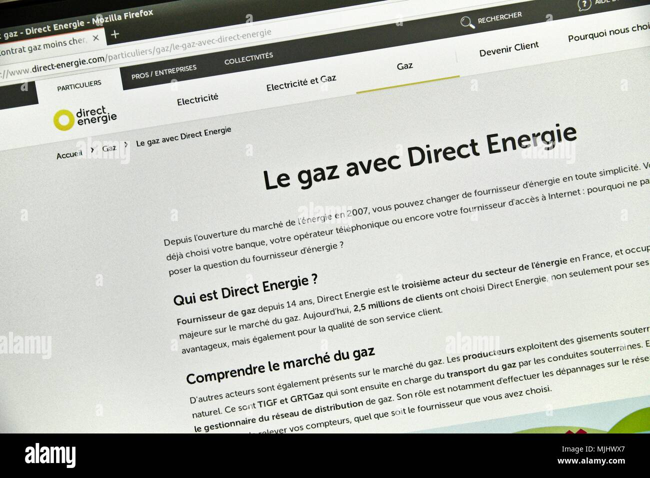 Website of Direct Energie, supplier and private French producer of electricity and gas present on the French market since 2003. - Stock Image