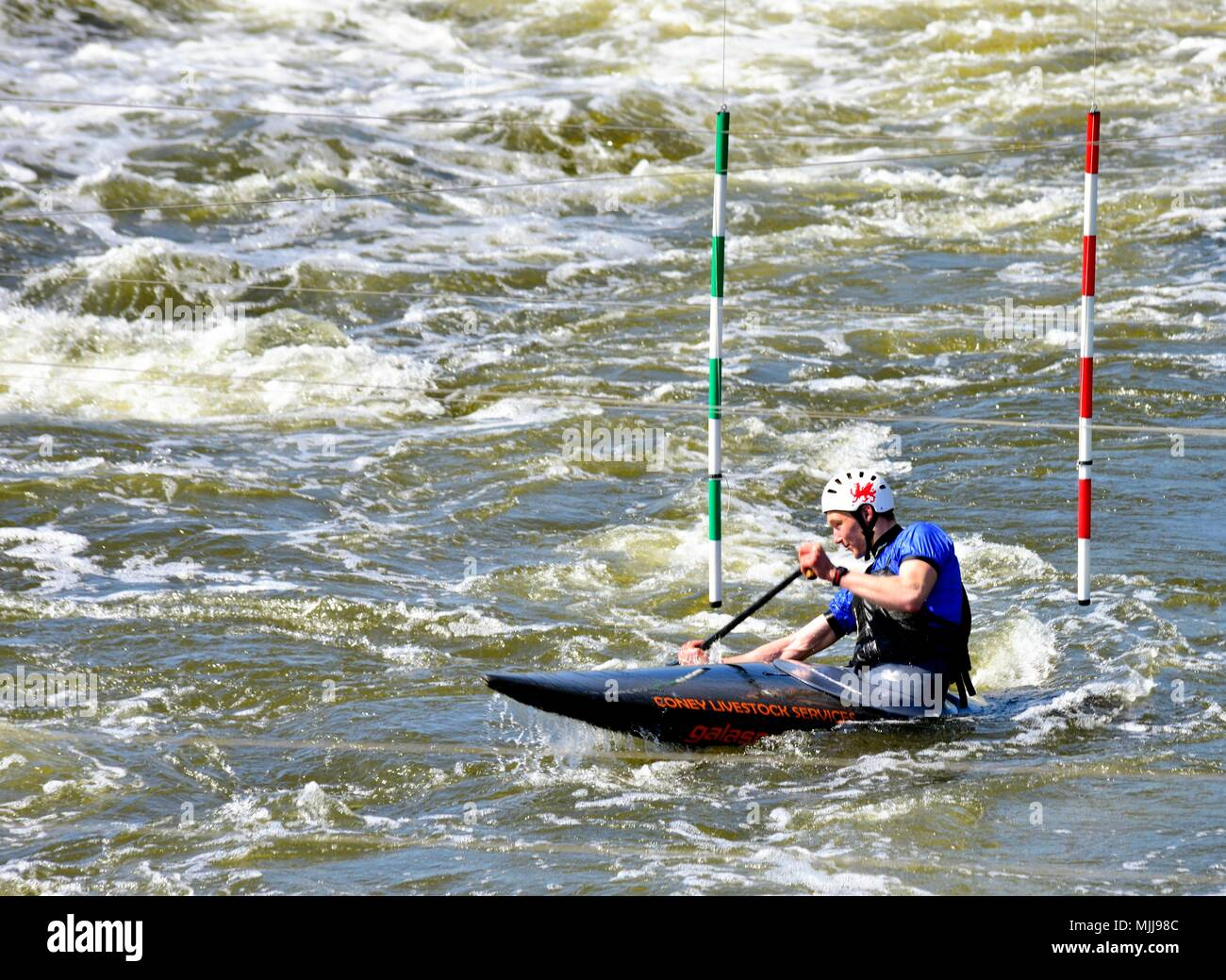 White water rafting  National Watersports Centre Holme Pierrepont Nottingham England UK - Stock Image