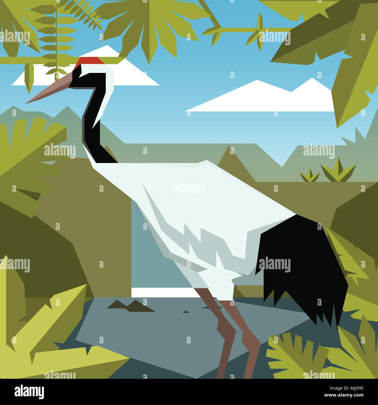 Flat Jungle Background With Red Crowned Crane Stock Vector Image Art Alamy Want to discover art related to red_crowned_crane? alamy