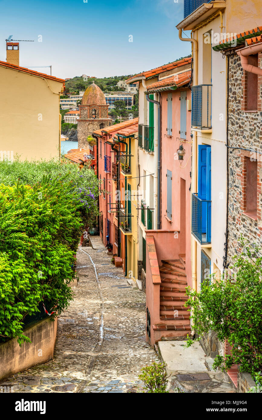Picturesque corner of the old town, Collioure, Pyrenees-Orientales, France - Stock Image