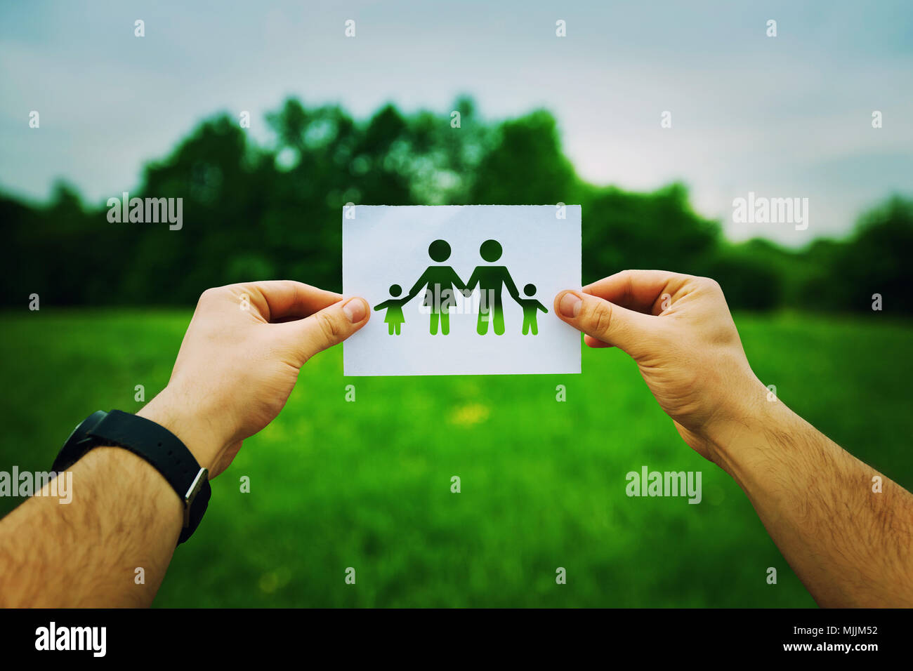 Man hands holding a white sheet with silhouette family symbol, including father, mother and two children. Family insurance concept isolated on a green - Stock Image