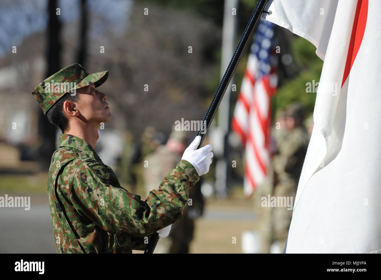 Bearer Stock Photos Images Page 23 Alamy Sakura Moth Hanger 160 Gr Camp Sendai Japan A Ground Self Defense Force Jgsdf Flag