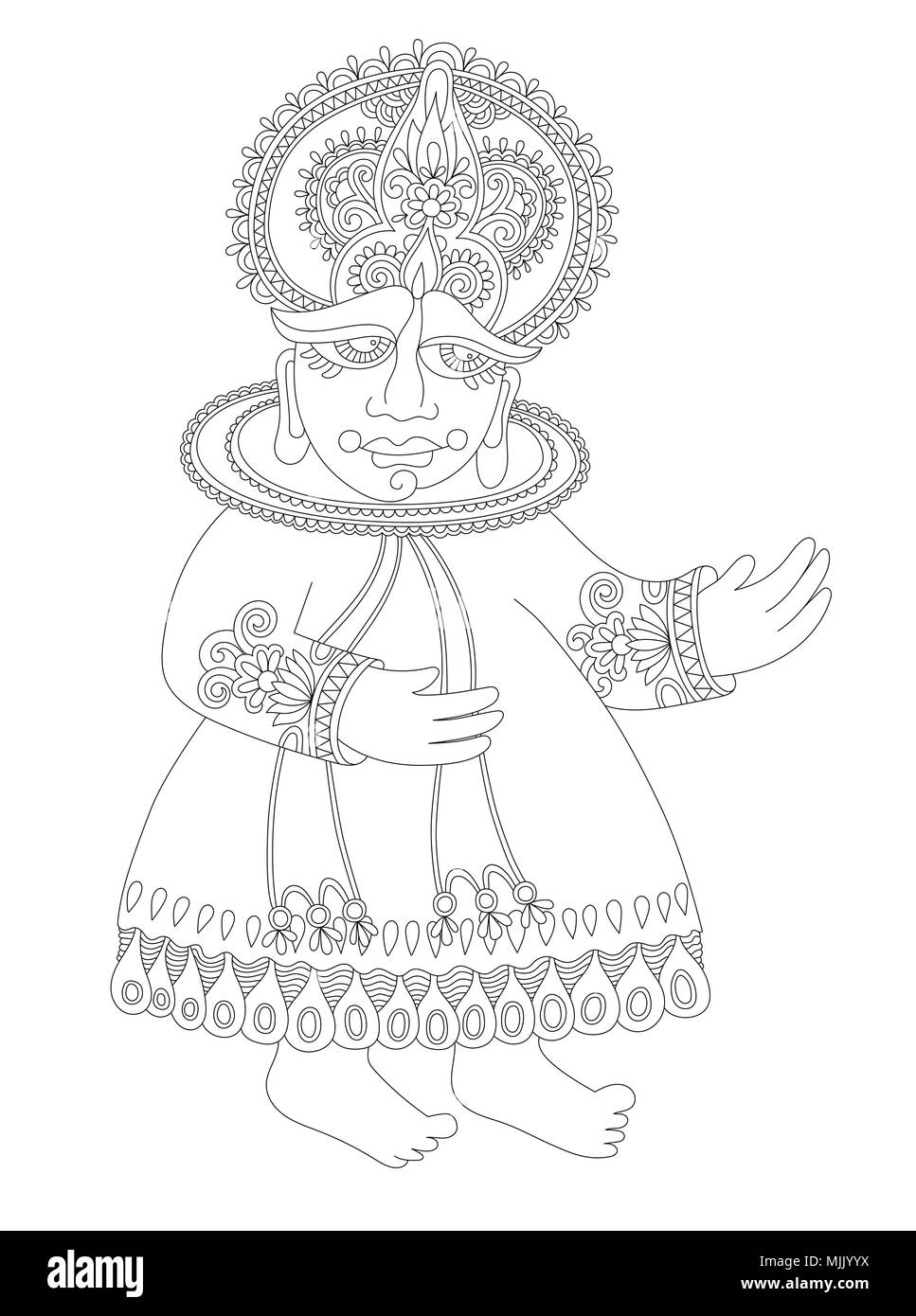 Drawing Of South Indian Traditional Kathakali Dancer Stock Vector Image Art Alamy
