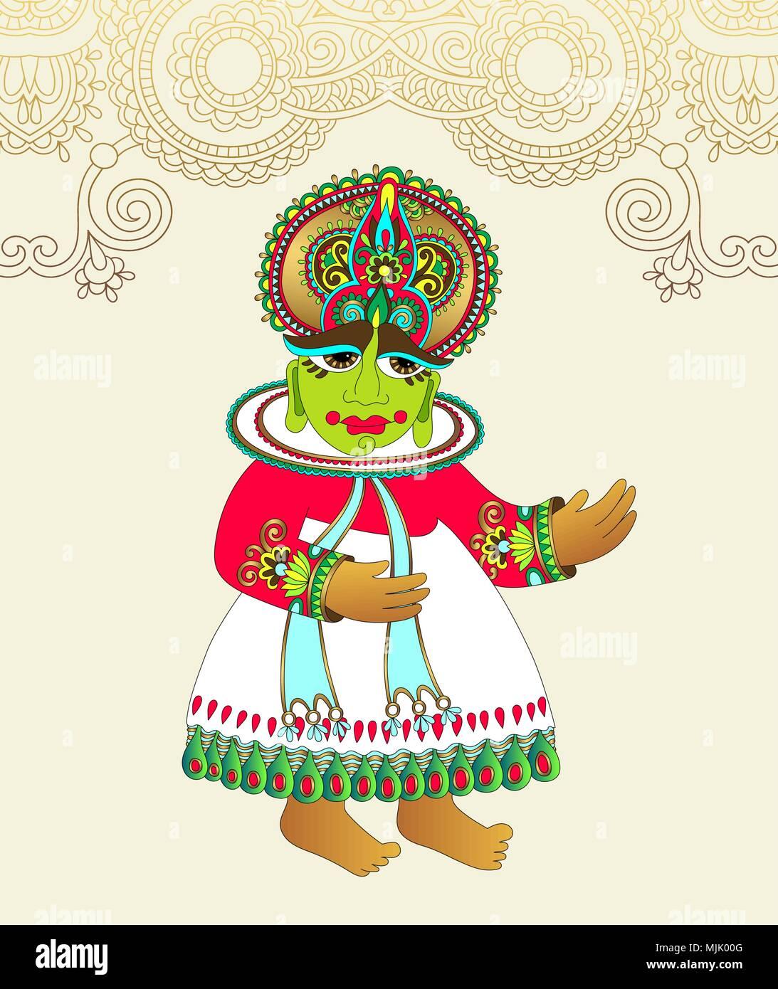 Original Drawing Of Traditional Indian Kathakali Dancer Stock Vector Image Art Alamy