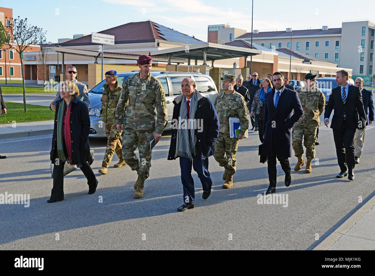 U.S. Ambassador to Italy Lewis Eisenberg visited with leaders from U.S. forces at Caserma Del Din, Vicenza, Italy, Dec. 5, 2017. He met with Col. James Bartholomees, 173rd Airborne commander, Col. Howard C.  Kirk, U.S. Army Africa chief of staff; Col. Erik M. Berdy, U.S. Army Garrison Italy commander, Col. Richard D. Conkle, 207th Military Intelligence Brigade commander and Col. Umberto D'Andria, Italian Base Commander Caserma Ederle of Vicenza. (U.S. Army photo by Paolo Bovo) Stock Photo