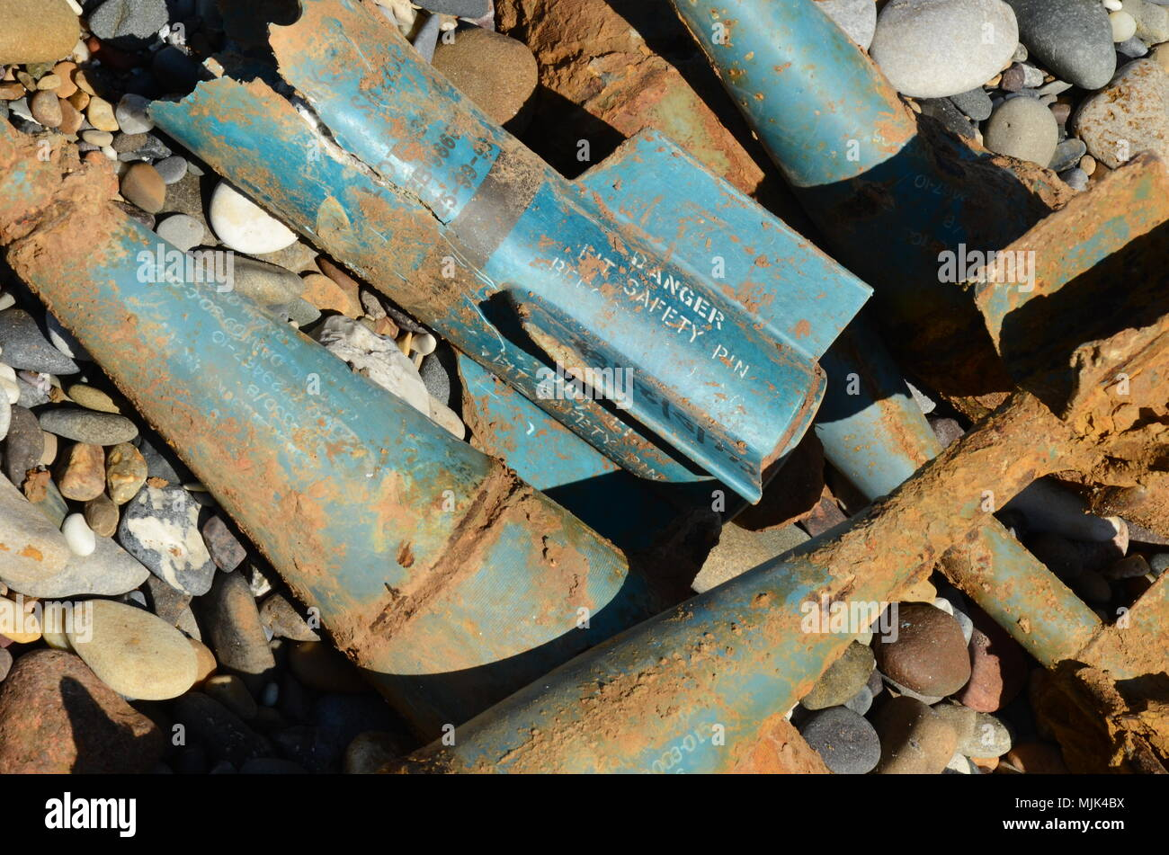 aircraft bombs and ammunition, air raid,  poison gas attack Damascus, Syria, UXB - Stock Image