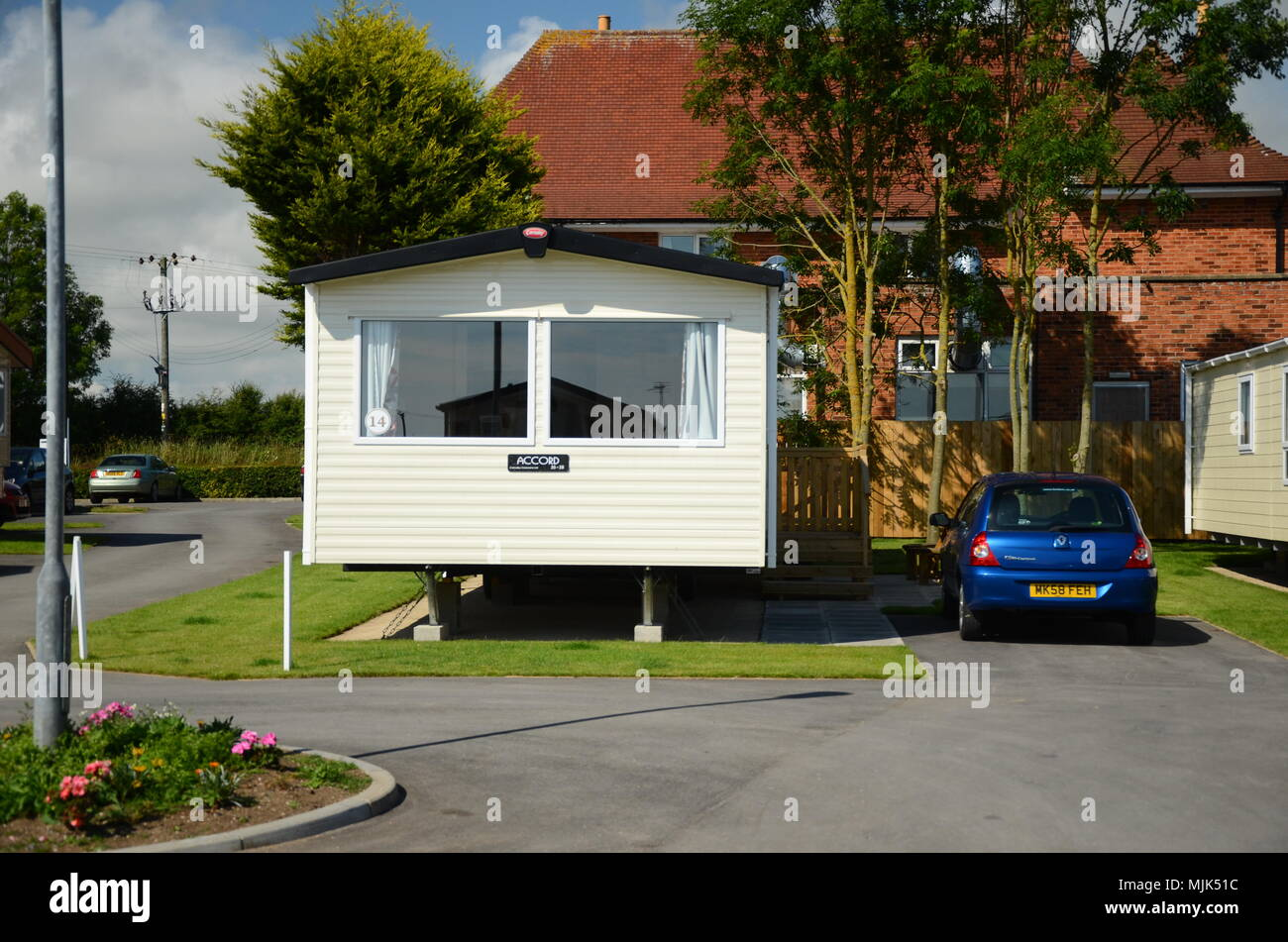 permanent caravan sites for Gypsy and Traveller communities - Stock Image