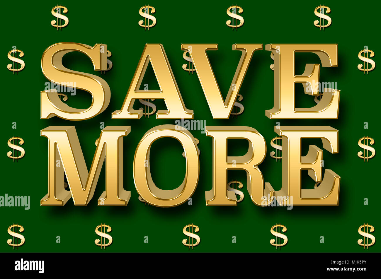 Stock Illustration - Large Metallic Text: Save More, 3D Illustration, Small Golden Dollar Currency Signs In the Money Green Background. - Stock Image