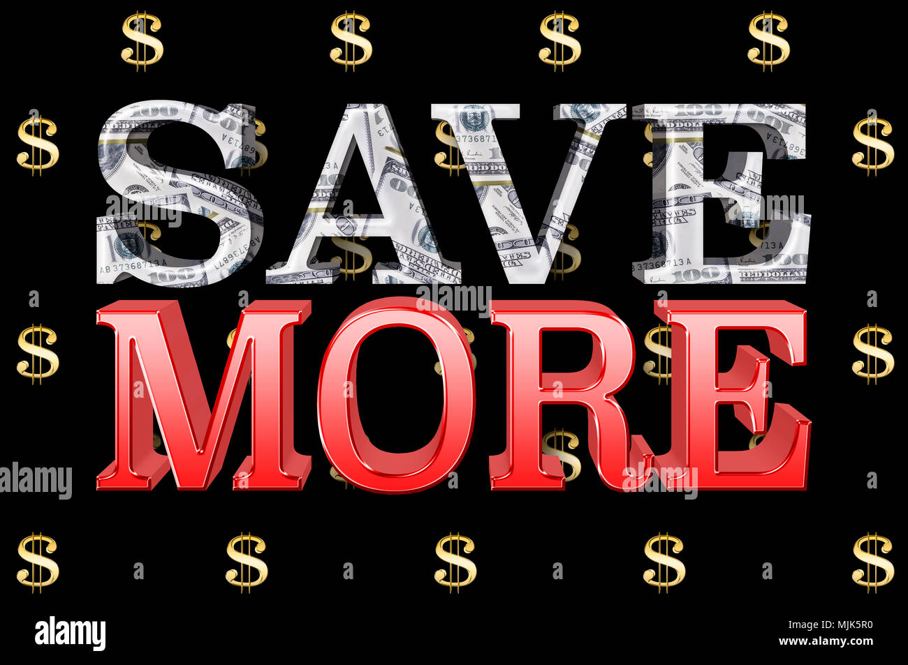 Stock Illustration - Large Metallic Text: Save More, 3D Illustration, Small Golden Dollar Currency Signs In the Black Background. - Stock Image