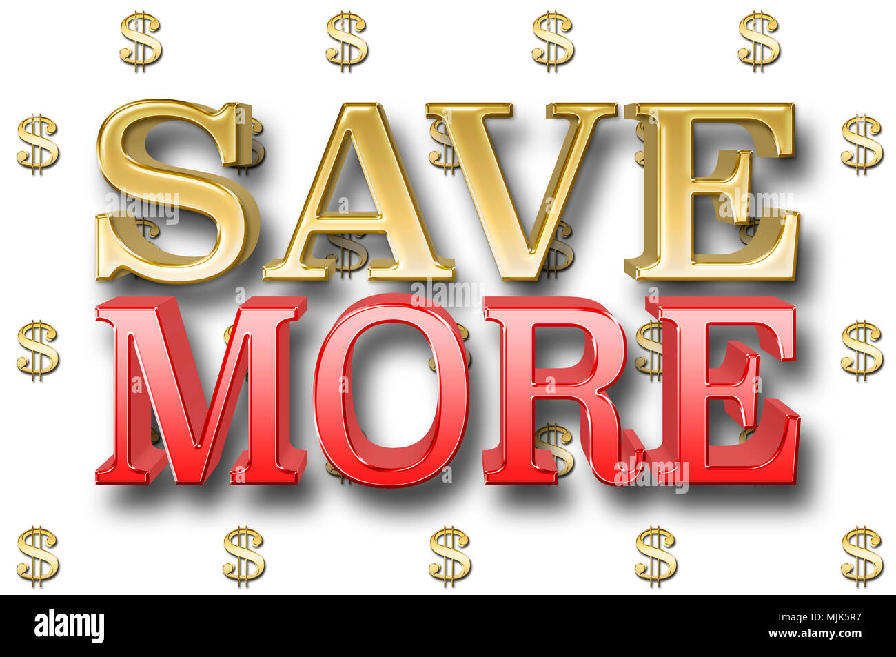 Stock Illustration - Large Metallic Text: Save More, 3D Illustration, Small Golden Dollar Currency Signs In the White Background. - Stock Image