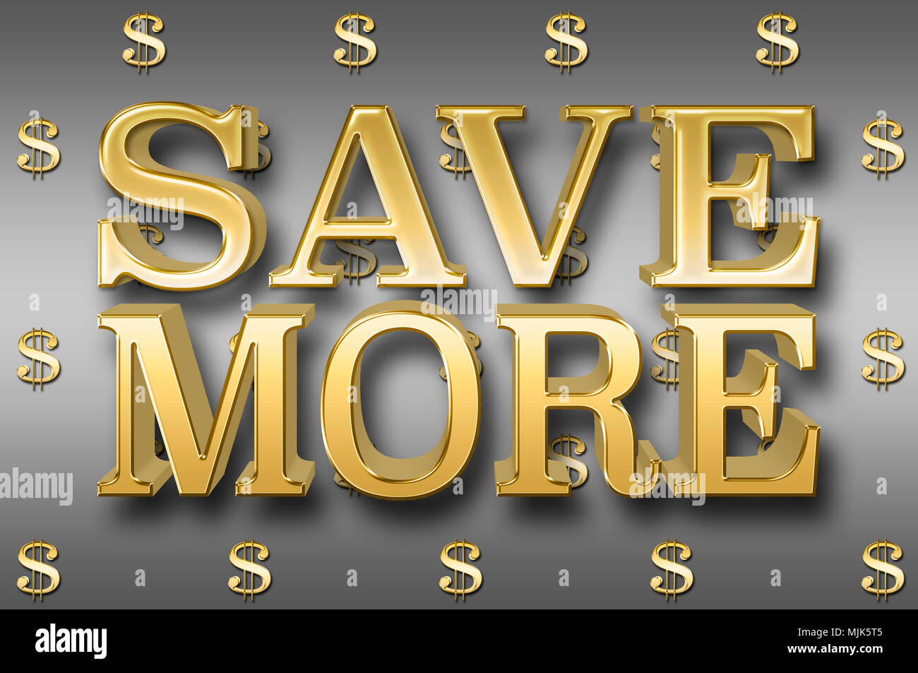 Stock Illustration - Large Metallic Text: Save More, 3D Illustration, Small Golden Dollar Currency Signs In the Steel Background. - Stock Image