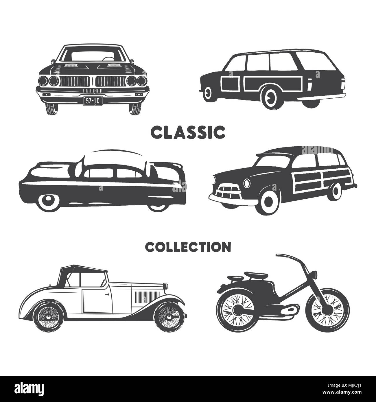Classic cars, vintage car icons, symbols set.Vintage hand drawn cars, muscle, motorcycle elements. Use for logo, labels, t-shirt prints, tee graphics. Stock design isolated on white background. - Stock Image