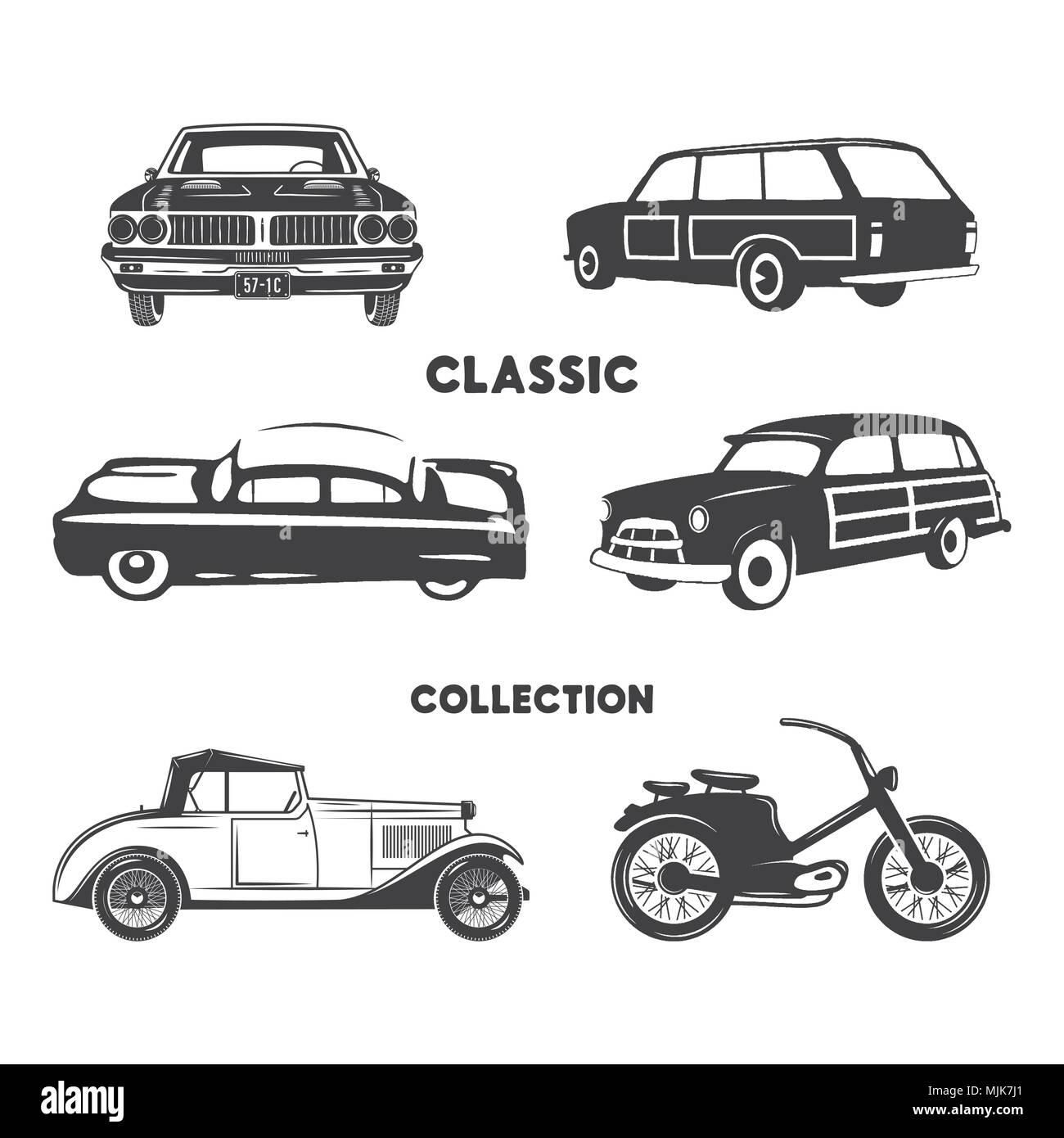 Classic Cars Vintage Car Icons Symbols Setntage Hand Drawn Cars