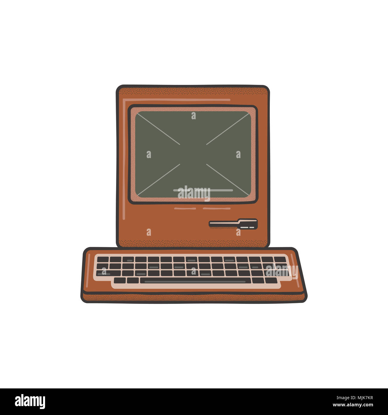 Vintage Hand Drawn Personal Computer With Keyboard. Old classic pc with sign - Old School Rules. Retro technology icon. Stock Illustration, tee design, t shirt isolated on white - Stock Image