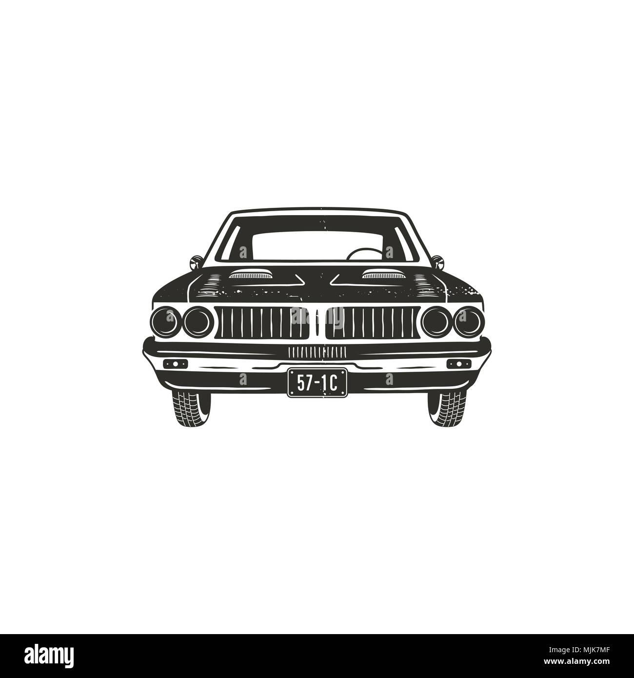 Vintage hand drawn muscle car. Retro car symbol design. Classic car emblem isolated on white background. Stock elements. American auto icon. USA automotive theme - Stock Image