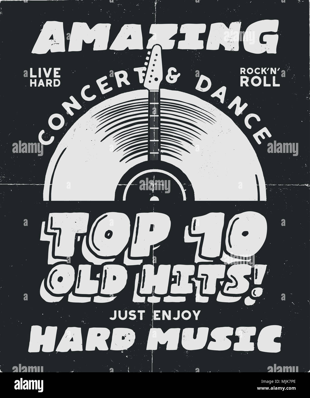 Hard Music Poster. Concert and Festival Tee Graphic Design. Retro music poster, festival invitation. Musical T-Shirt print design. Vintage hand drawn style. Black and white colors. Stock  - Stock Image