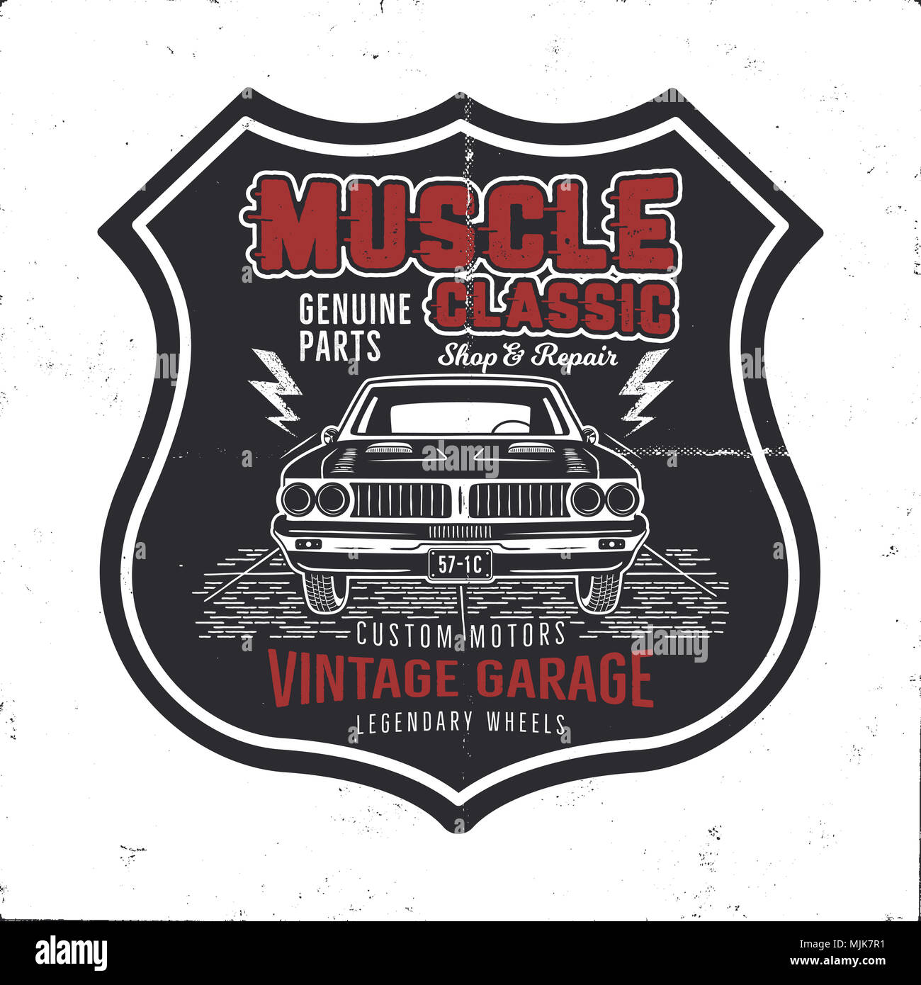 Vintage hand drawn muscle car t shirt design. Classic car poster ...