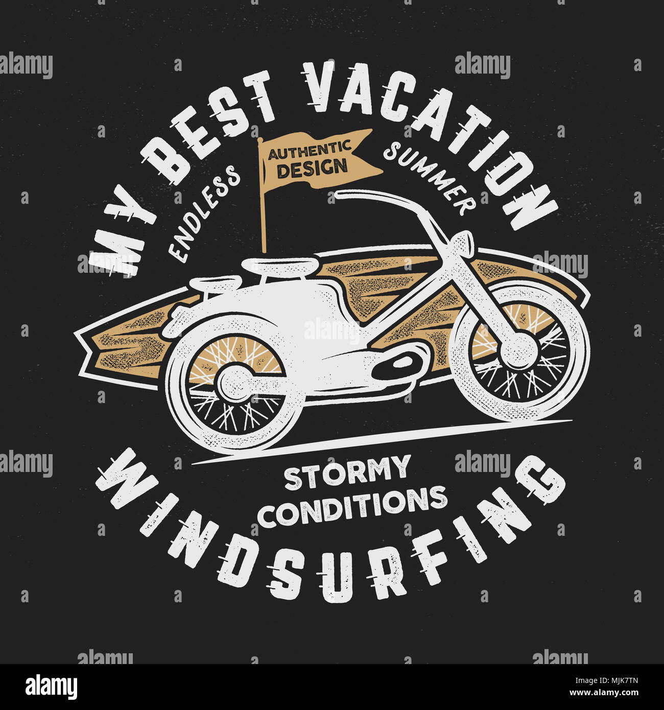 4c627bbd863 Summer travel t shirt. poster concept with retro surfboard and motorcycle.  Surfing tee design template. Stock emblem isolated