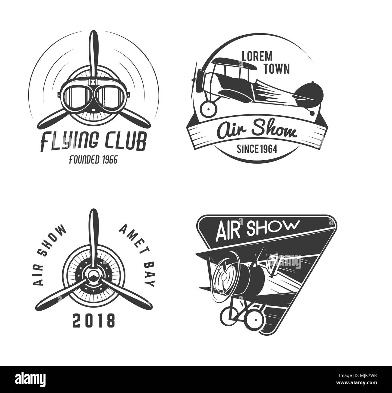 Vintage hand drawn old fly stamps. Travel or business airplane tour emblems. Biplane academy labels. Retro aerial badge isolated. Pilot school logos. Plane tee design, prints. Stock  - Stock Image