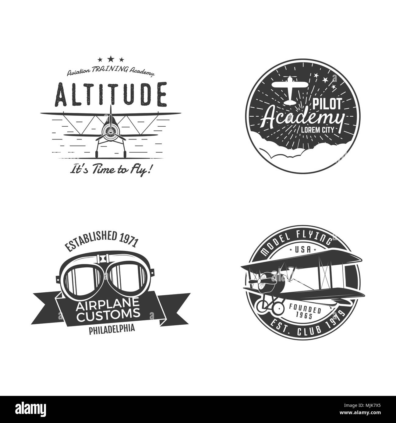 Vintage hand drawn old fly stamps. Travel or business airplane tour emblems. Airplane logo designs. Retro aerial badge. Pilot school logos. Plane tee design, prints. Stock stamps isolated - Stock Image