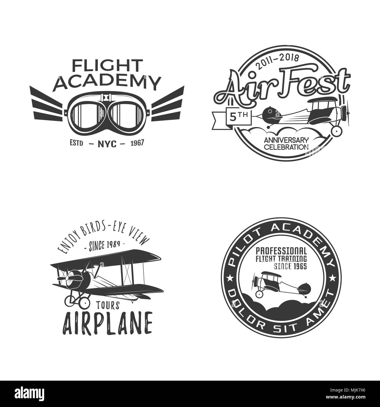 Vintage hand drawn old fly stamps. Travel or business airplane tour emblems. Airplane logo designs. Retro aerial badge. Pilot school logos. Plane tee design, prints. Stock patches isolated - Stock Image