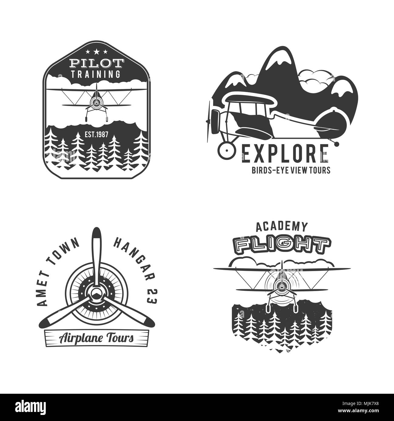 Vintage hand drawn old fly stamps. Travel or business airplane tour emblems. Airplane logo designs. Retro aerial badge isolated. Pilot school logos. Plane tee design, prints. Stock isolated - Stock Image
