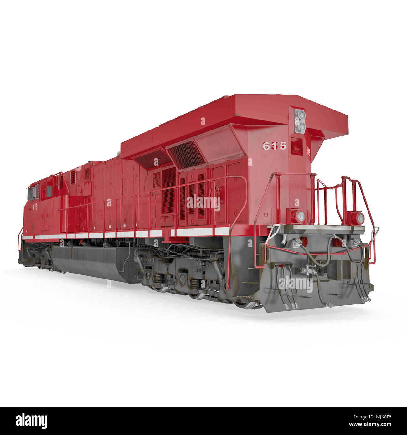 Red Diesel Locomotive on white. Rear view. 3D illustration, clipping path - Stock Image