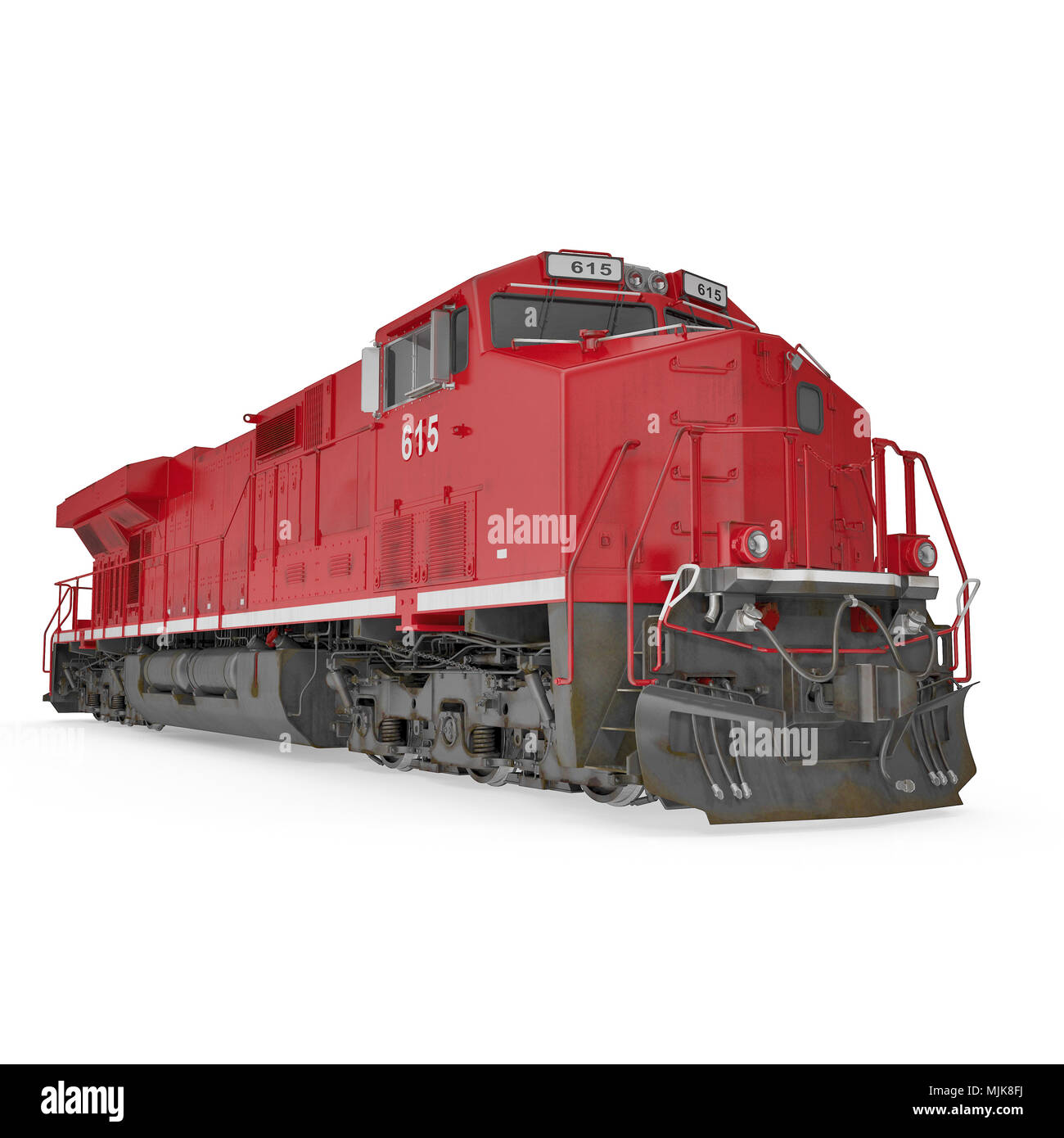 Modern red locomotive isolated on white. 3D illustration, clipping path - Stock Image