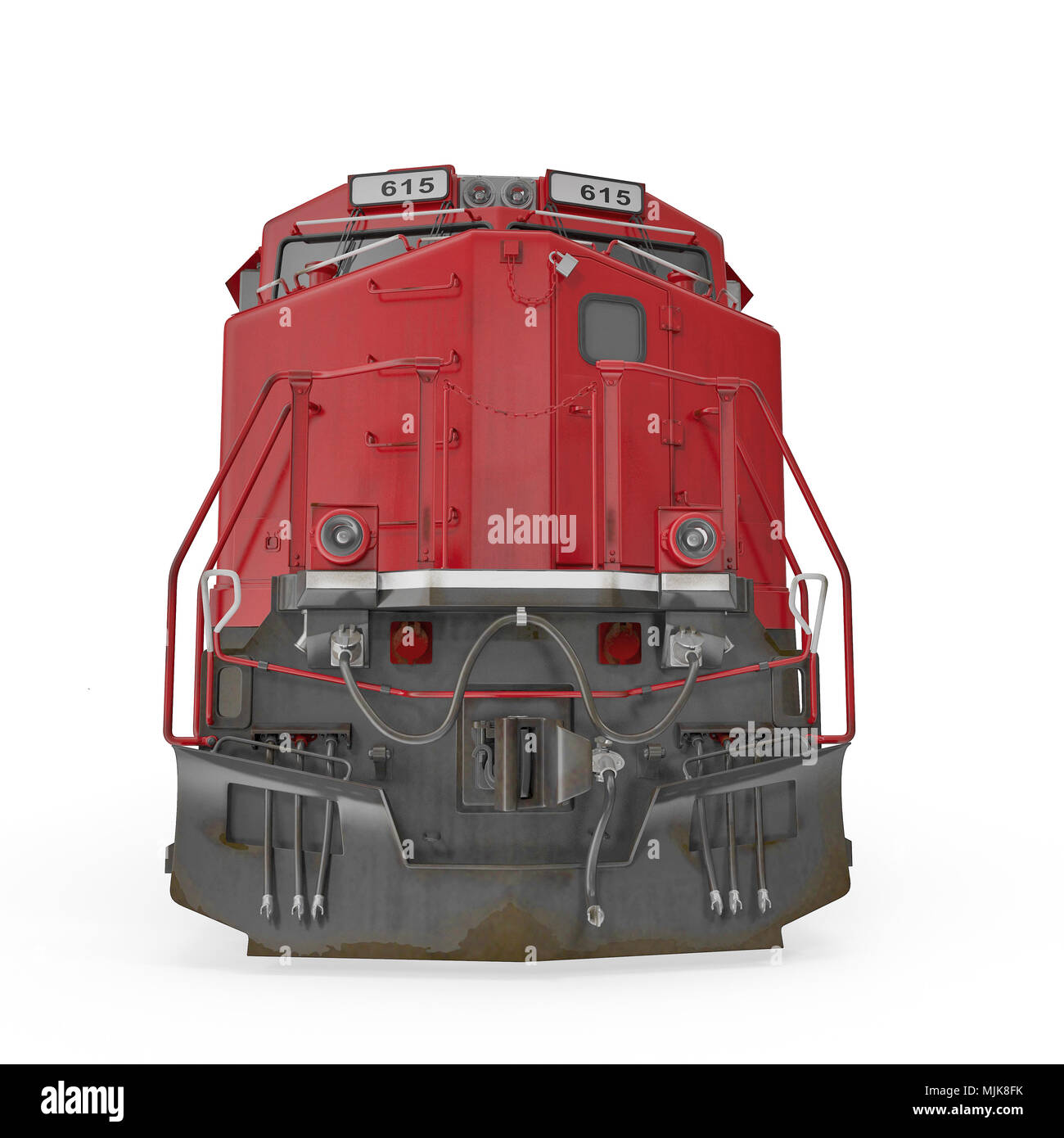 Modern locomotive isolated on white. Front view. 3D illustration, clipping path - Stock Image