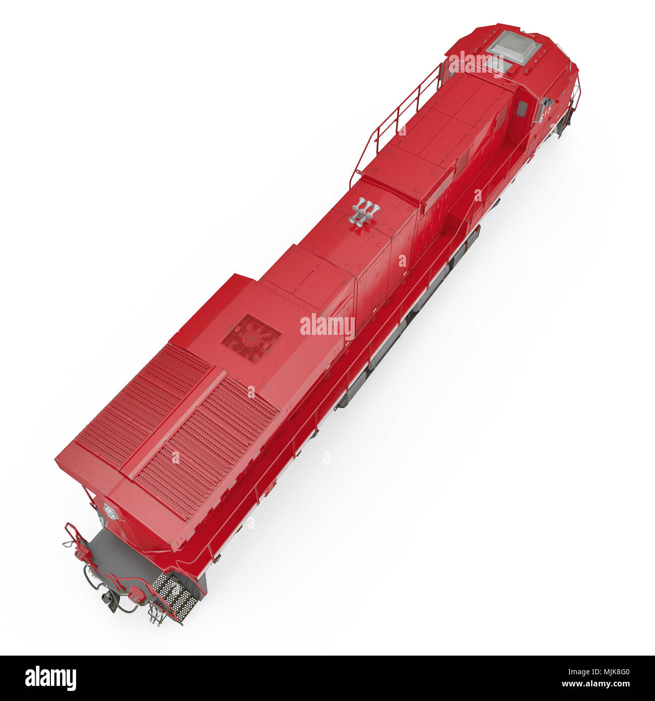 Diesel-electric locomotive on white. 3D illustration, clipping path - Stock Image