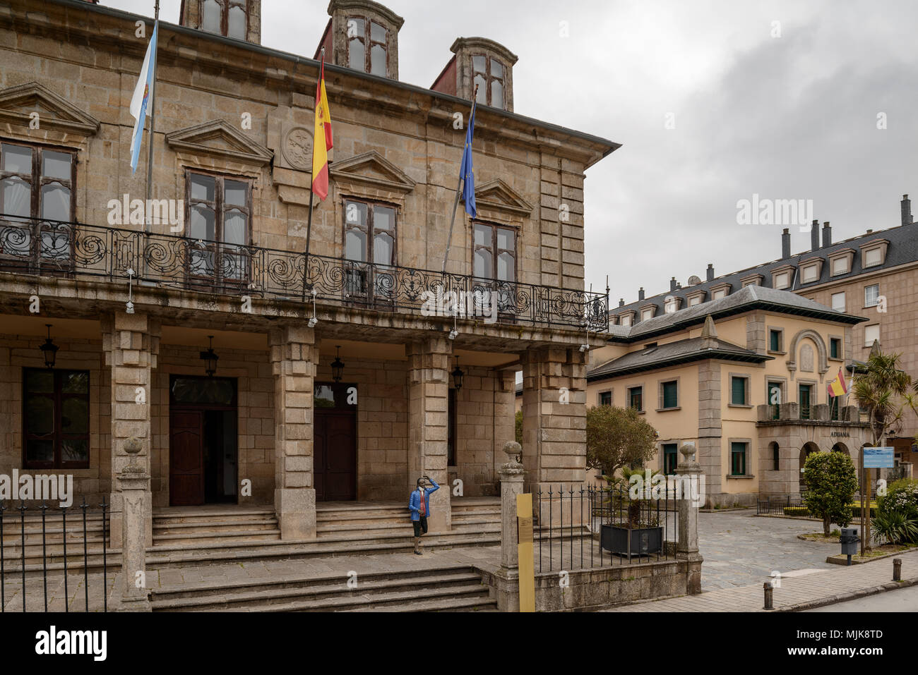 A Casa do Concello, town hall, the old Customs building in Ribadeo, Lugo province, in the region of Galicia, northern Spain, Europe - Stock Image