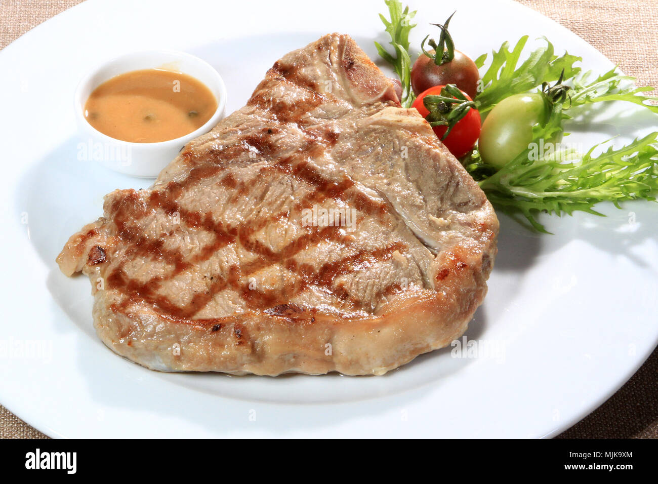 delicious grilled steak with sauce Stock Photo
