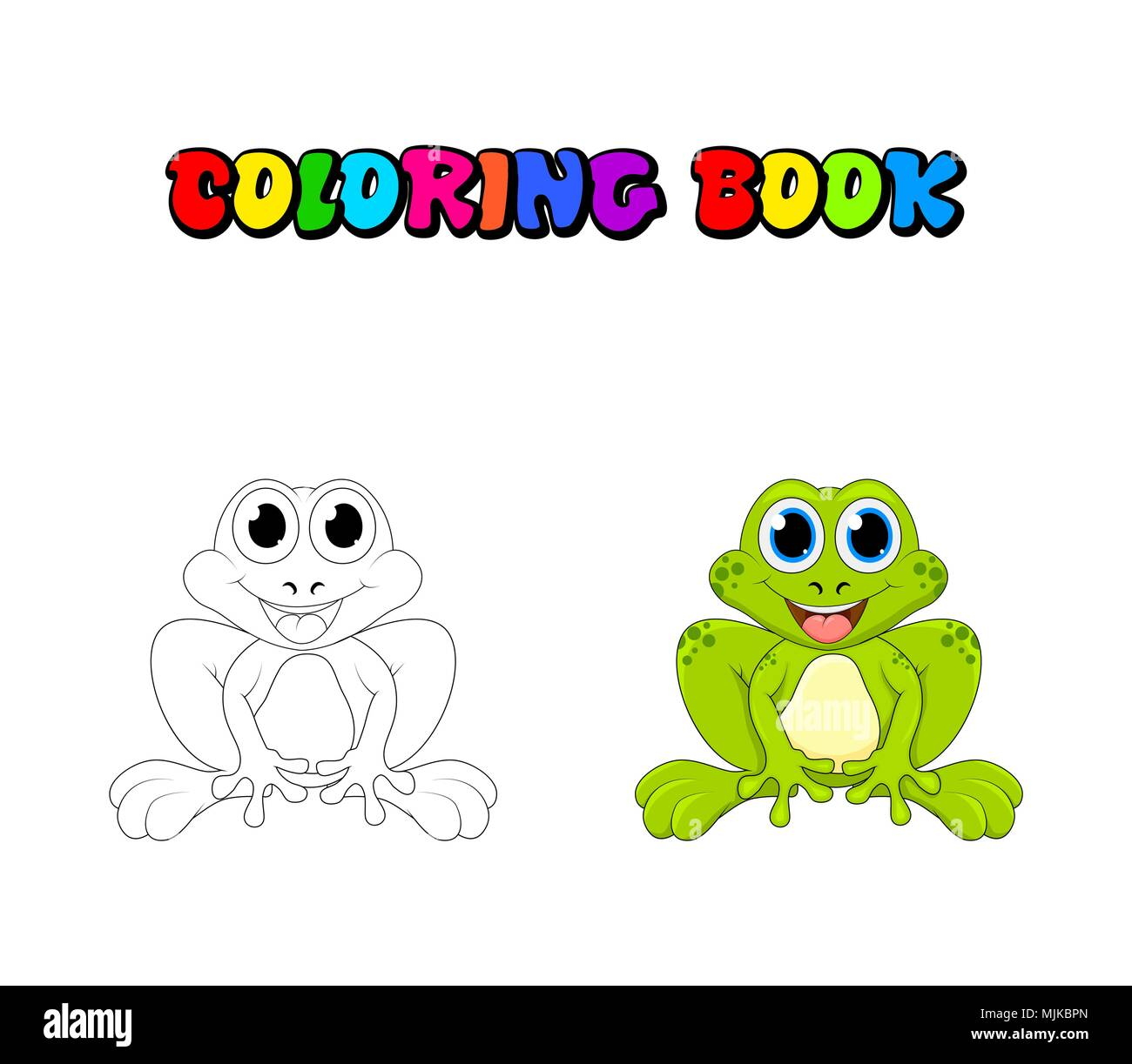 Cartoon frog coloring book isolated on white background Stock Vector ...