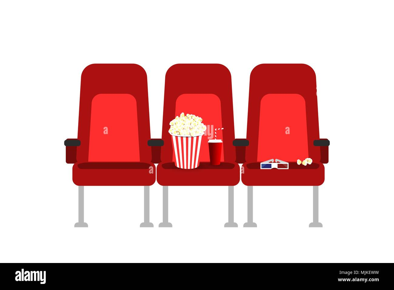 Cinema seats in a movie with popcorn, drinks and glasses. Flat vector cartoon Cinema seats illustration. Movie cinema premiere poster concept design. Show time. - Stock Image