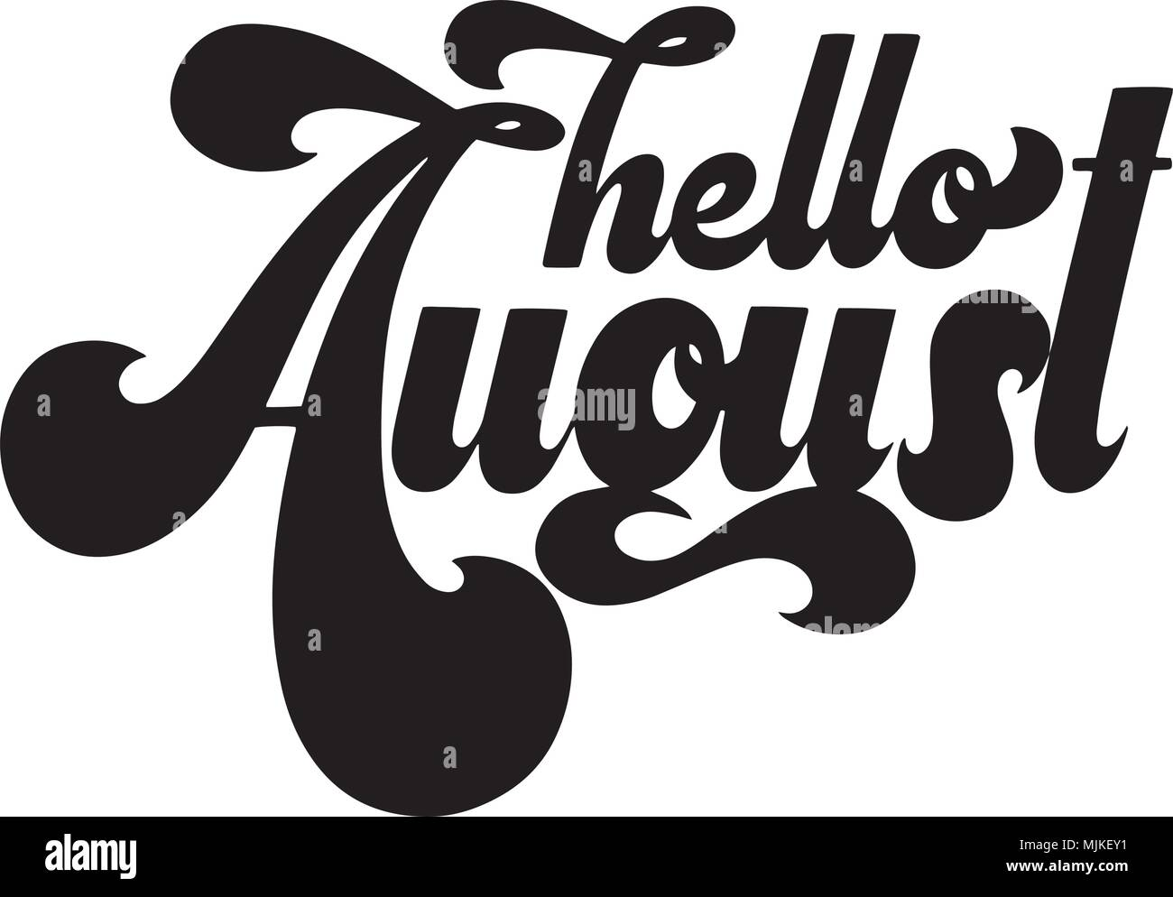 bb3ed55d9 Hello August lettering. Elements for invitations, posters, greeting cards. T -shirt design. Seasons Greetings. 70s typography retro style