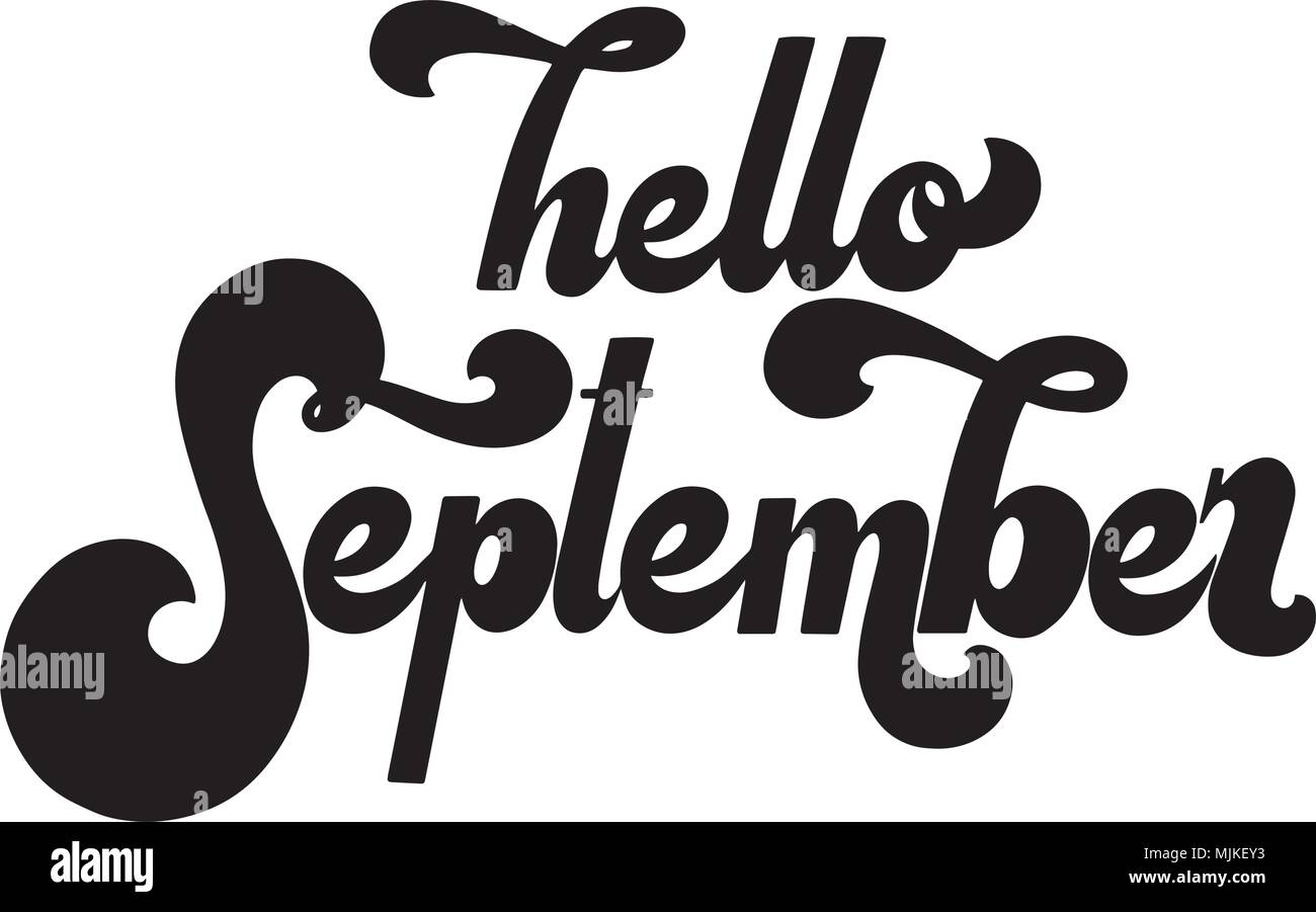 hello september lettering elements for invitations posters greeting cards t shirt design seasons greetings 70s typography retro style