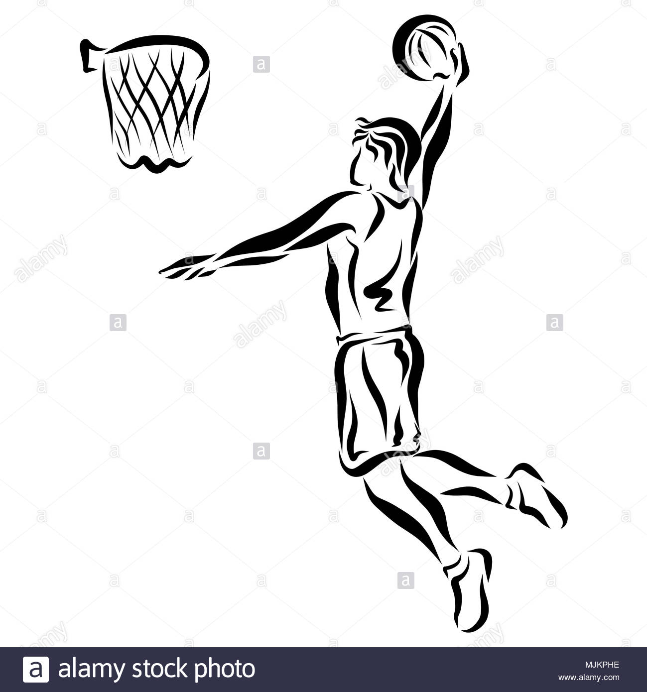 Athlete throws the ball into the basket - Stock Image