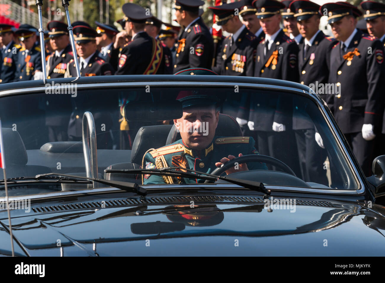 SAMARA - MAY 5: Dress rehearsal of military parade during celebration of the Victory day in the Great Patriotic War - russian soldiers marching on the - Stock Image