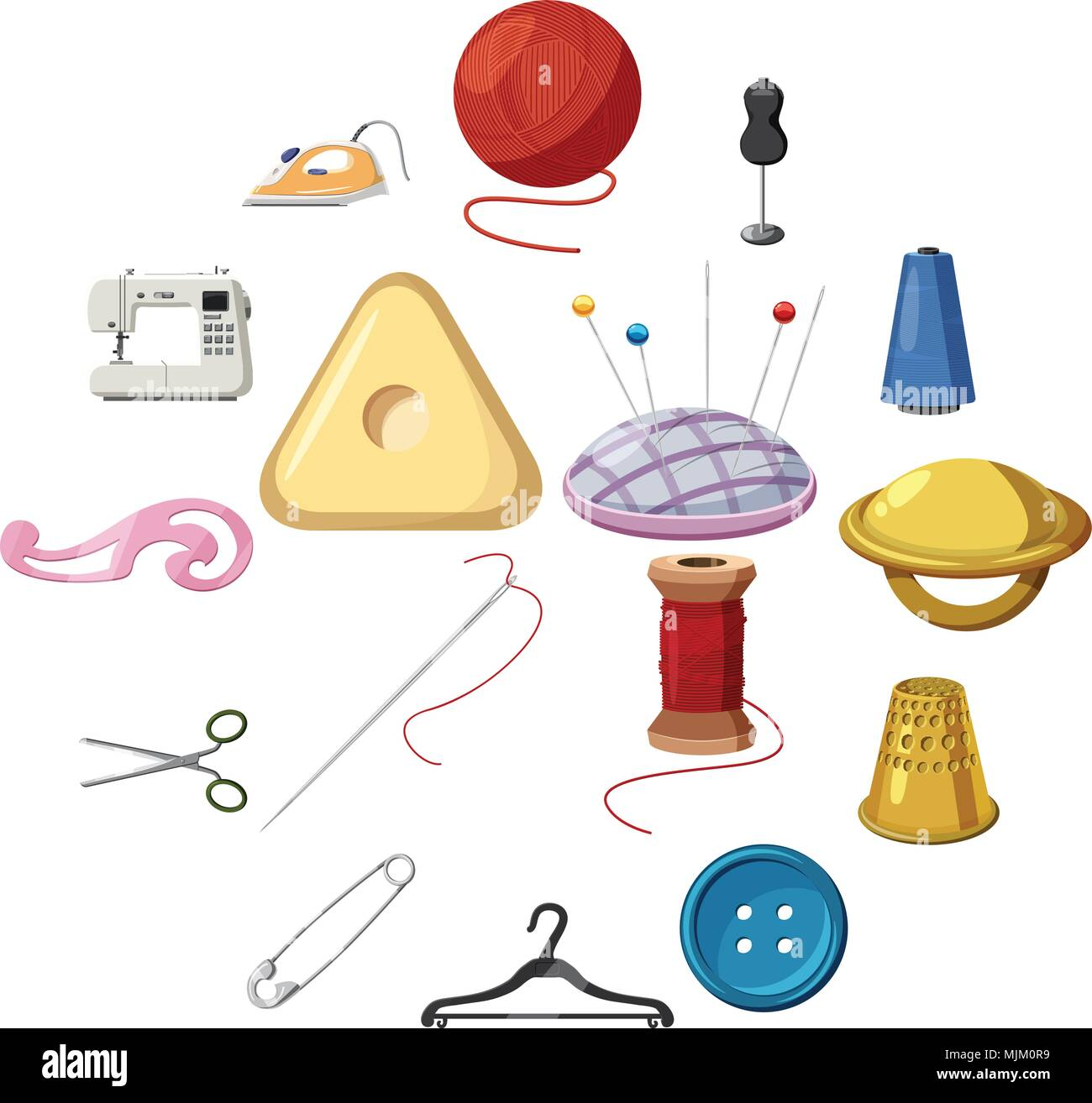 Sewing icons set, cartoon style Stock Vector