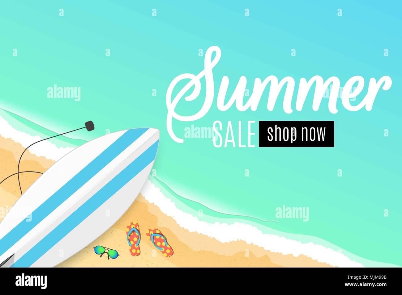 Summer sale surfboard beach goggles and sponges sunny sandy beach surfboard beach goggles and sponges sunny sandy beach cartoon style special offer summer discounts vector illustration eps 10 voltagebd Choice Image
