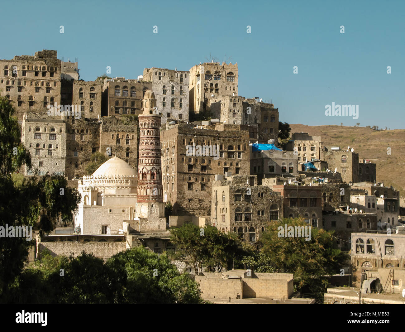 View to Jibla old city and former synagogue, Yemen - Stock Image