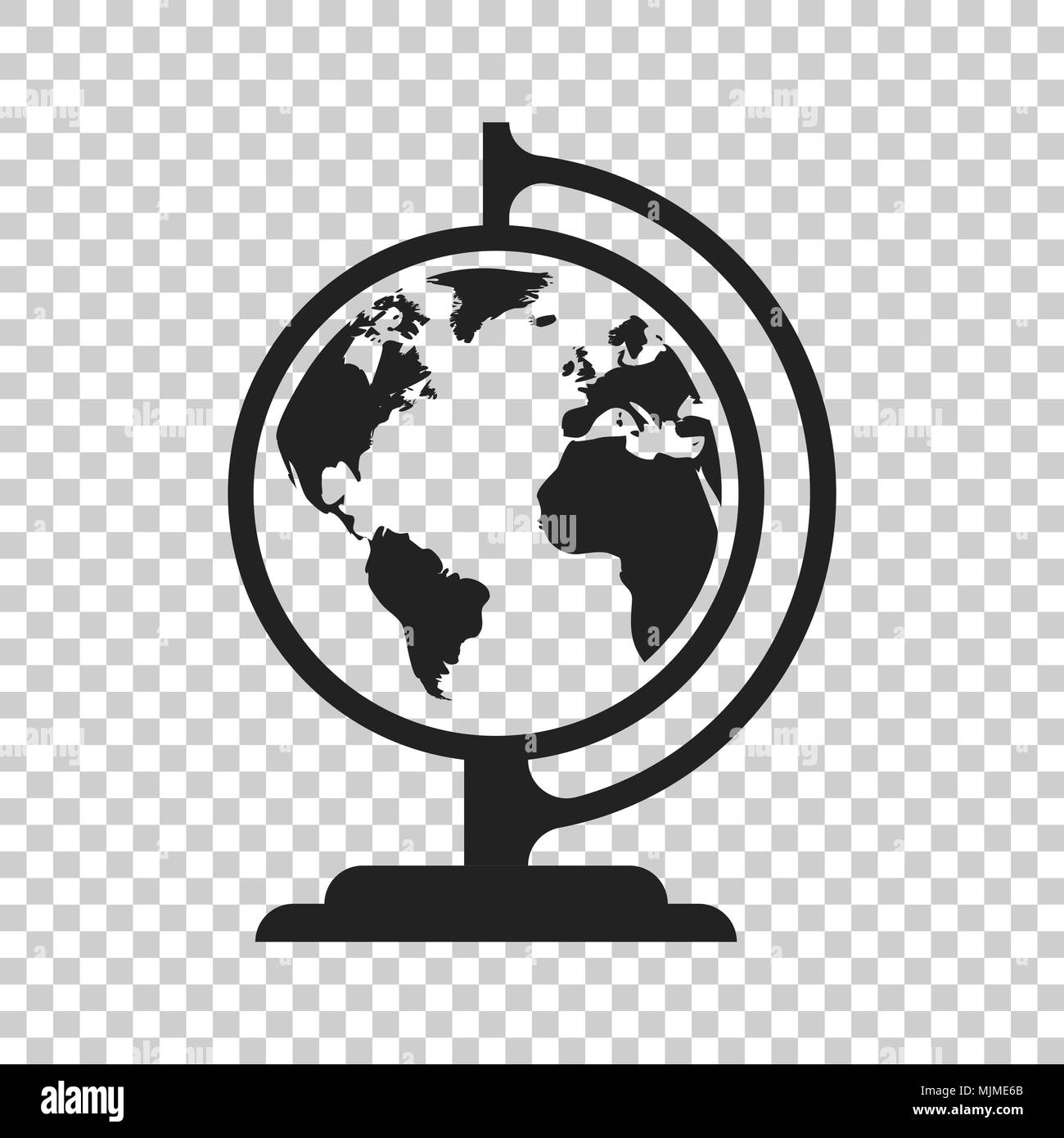 Globe world map vector icon round earth flat vector illustration globe world map vector icon round earth flat vector illustration planet business concept pictogram on isolated transparent background gumiabroncs Images