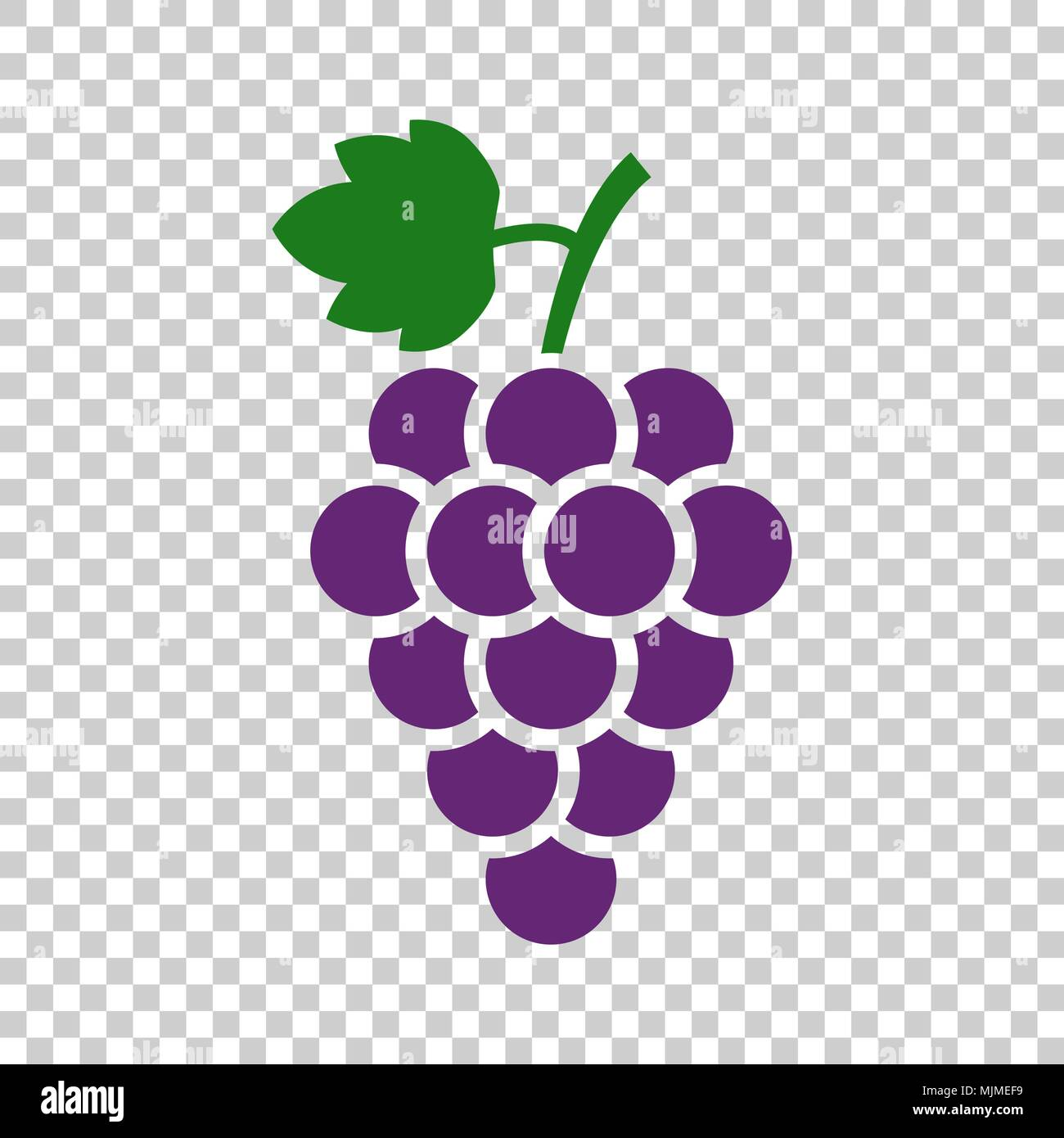 Grape fruit with leaf icon. Vector illustration on isolated transparent background. Business concept Bunch of wine grapevine pictogram. - Stock Vector