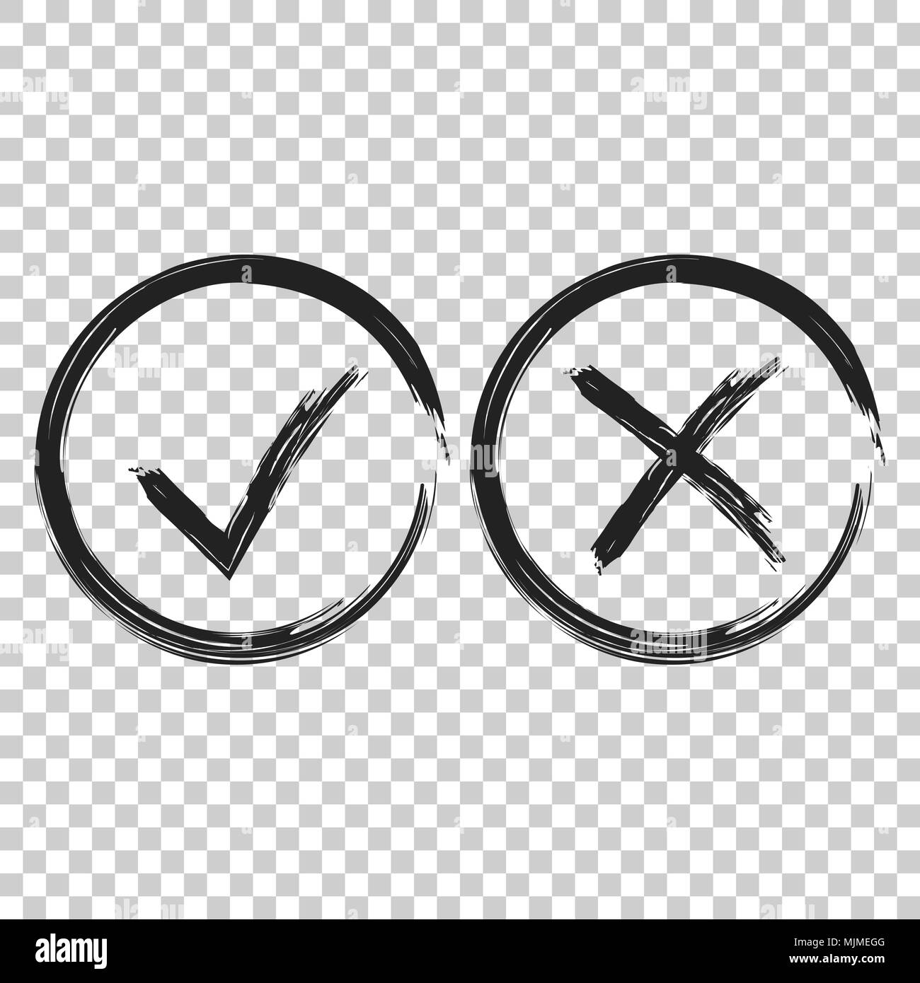 check marks tick and cross icon vector illustration on on