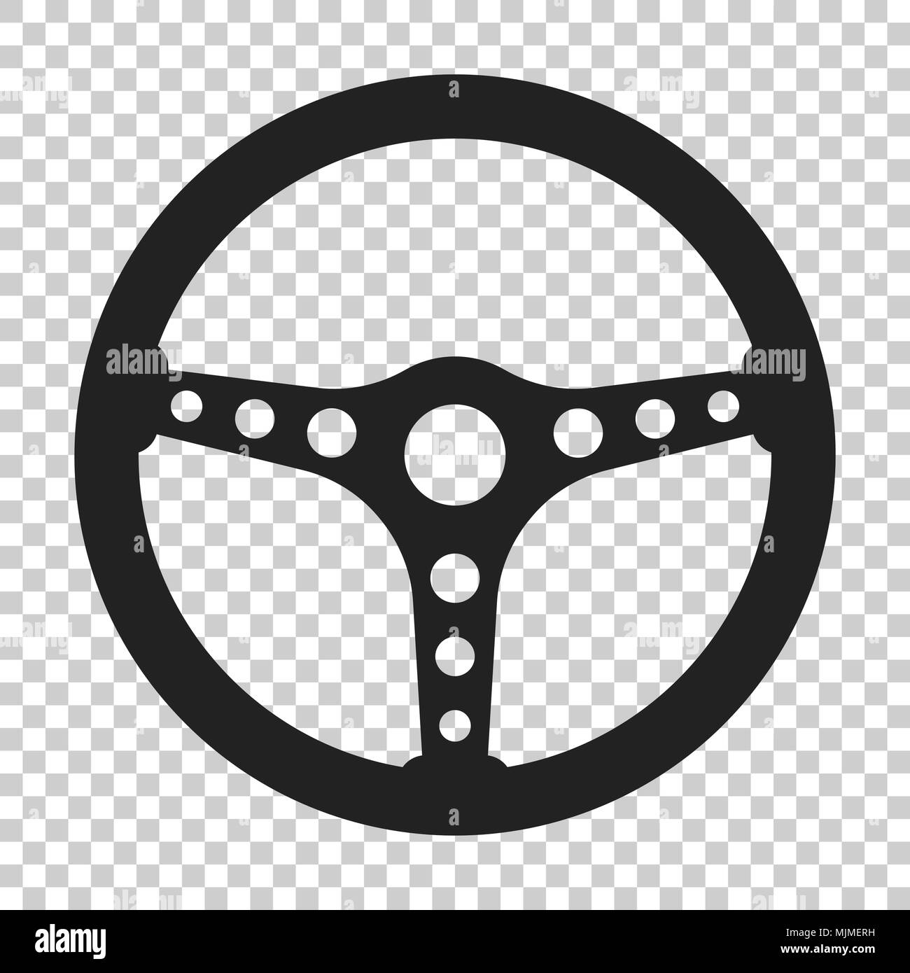 Steering Wheel Icon Vector Illustration On Isolated Transparent