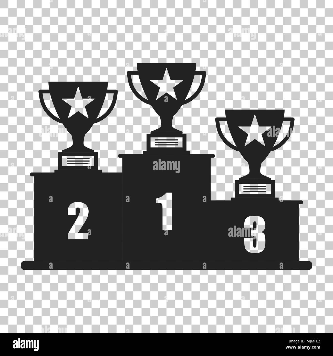 Winners Podium With Trophy Icon In Flat Style Pedestal Illustration On Isolated Transparent Background Gold Silver And Bronze Award Sign Concept