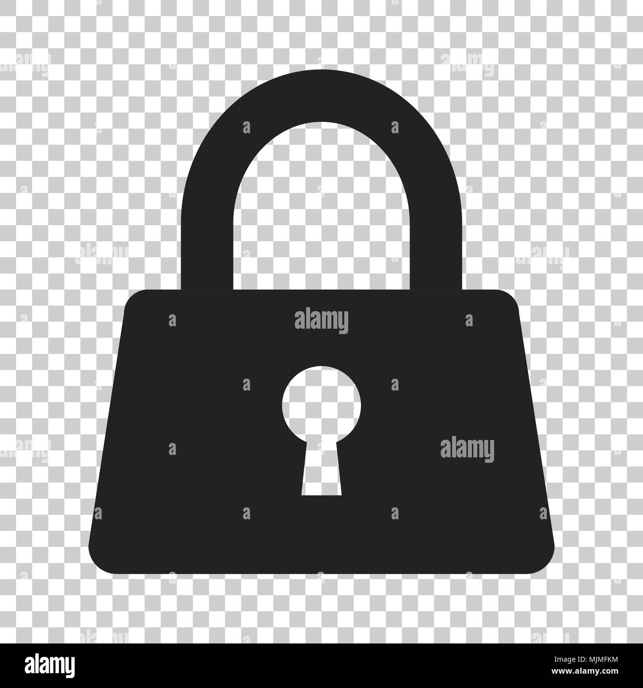Padlock icon in flat style. Lock, unlock security illustration on isolated transparent background. Padlock business concept. - Stock Image