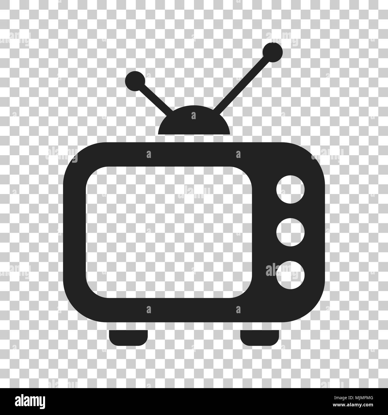 Television monitor in flat style. Tv screen illustration on isolated transparent background. Tv show concept. - Stock Image