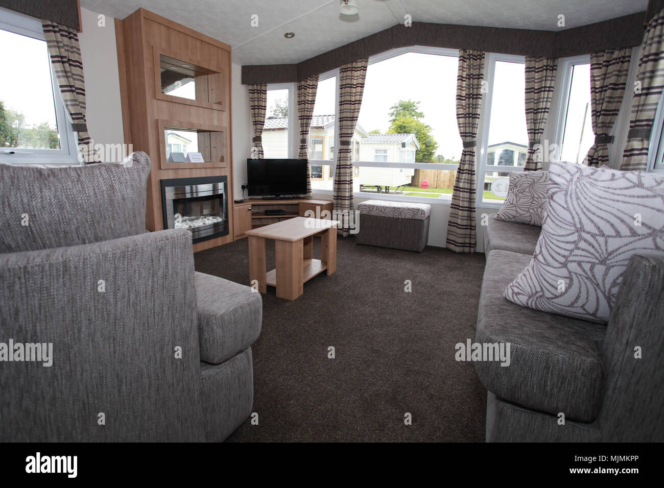 permanent caravan sites for Gypsy and Traveller communities Stock